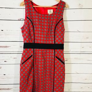 ICE Dress Size 10 Red Gray Houndstooth Print